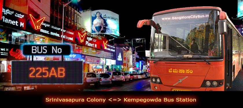 BMTC '225AB' Bus Route & Timings - Bangalore City Bus No. 225AB Stops, Distance & Time Table