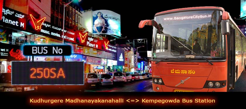 BMTC '250SA' Bus Route & Timings - Bangalore City Bus No. 250SA Stops, Distance & Time Table