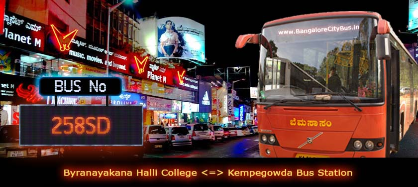 BMTC '258SD' Bus Route & Timings - Bangalore City Bus No. 258SD Stops, Distance & Time Table