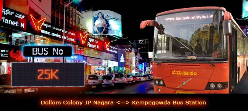 BMTC '25K' Bus Route & Timings - Bangalore City Bus No. 25K Stops, Distance & Time Table