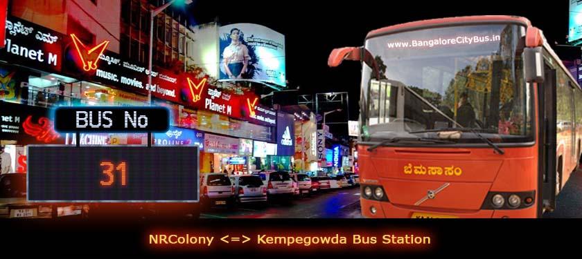 BMTC '31' Bus Route & Timings - Bangalore City Bus No. 31 Stops