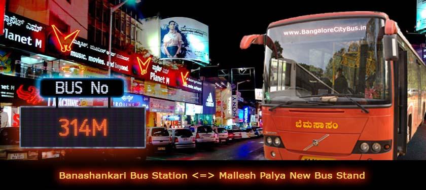 BMTC '314M' Bus Route & Timings - Bangalore City Bus No. 314M Stops