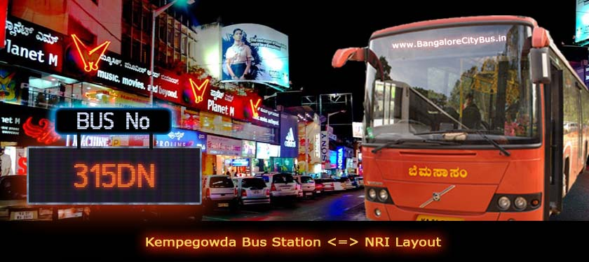 BMTC '315DN' Bus Route & Timings - Bangalore City Bus No. 315DN Stops