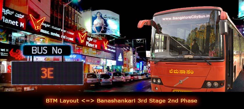 BMTC '3E' Bus Route & Timings - Bangalore City Bus No. 3E Stops