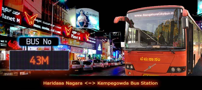 BMTC '43M' Bus Route & Timings - Bangalore City Bus No. 43M Stops