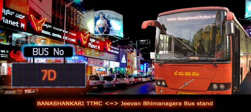 BMTC '7D' Bus Route & Timings - Bangalore City Bus No. 7D Stops