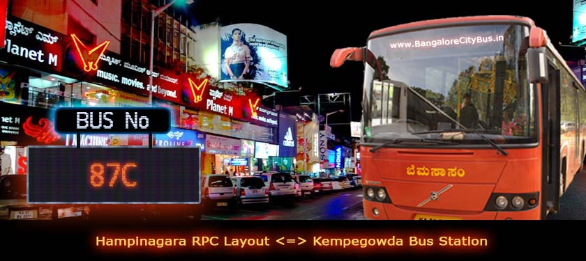 BMTC '87C' Bus Route & Timings - Bangalore City Bus No. 87C Stops