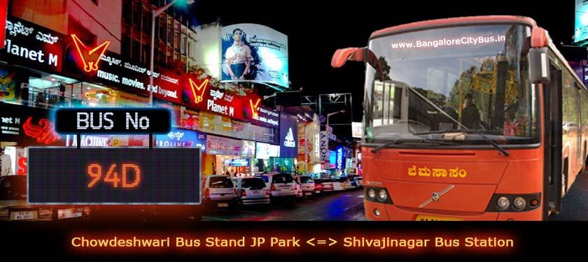 BMTC '94D' Bus Route & Timings - Bangalore City Bus No. 94D Stops