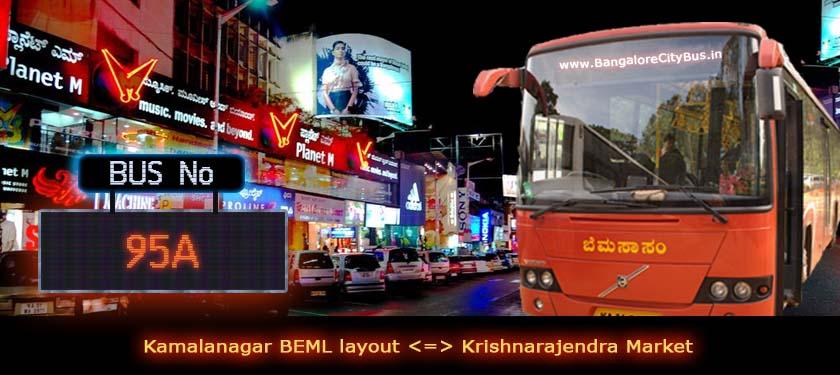 BMTC '95A' Bus Route & Timings - Bangalore City Bus No. 95A Stops