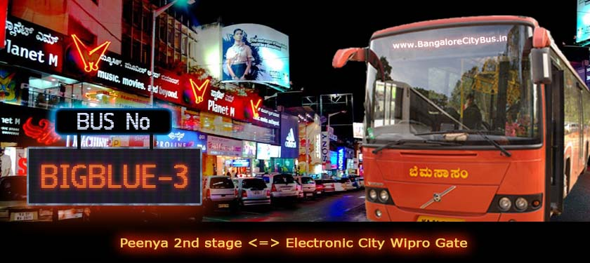BMTC 'BIGBLUE-3' Bus Route & Timings - Bangalore City Bus No. BIGBLUE-3 Stops