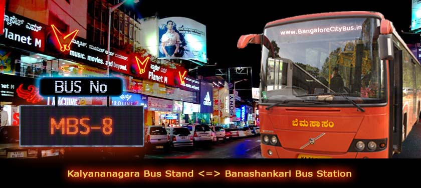 BMTC 'MBS-8' Bus Route & Timings - Bangalore City Bus No. MBS-8 Stops